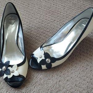 Etienne Aigner flower peep toe wedge heels